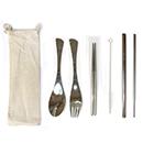 不鏽鋼餐具5件組麻布袋(粗12mm+細6mm)